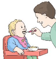Mutter füttert Kind
