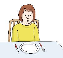 Kind wartet auf Essen am Tisch