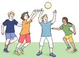 Kinder spielen Ball