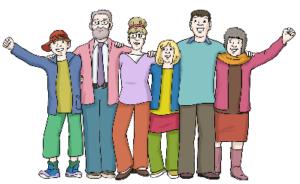 Junge und alte Menschen in Sieger-Pose
