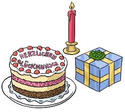 Geburtstags-Torte und Geschenk